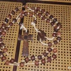 Antigüedades: ROSARIO MADERA MUY ANTIGUO GRAN TAMAÑO AÑOS 50. Lote 85284624