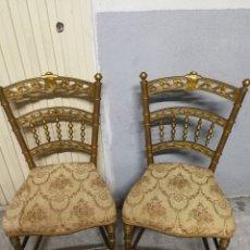 Antigüedades: PAREJA DE SILLAS DORADAS DEL XIX. Lote 85297940
