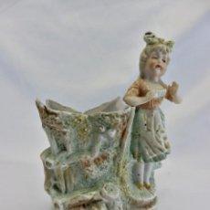 Antigüedades: BELLO VIOLETERO EN PORCELANA BISCUIT - DETALLES AL ORO - CA1900 - 14X12X8CMS. Lote 85298508