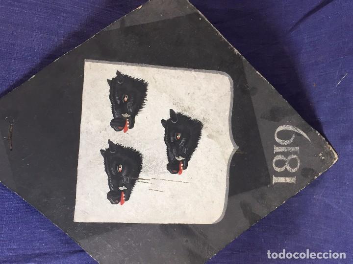Antigüedades: blason francia 3 cabezas hures sanglier jabali heraldica de bonnay borgoña dos rombos pintados 1819 - Foto 6 - 85337364