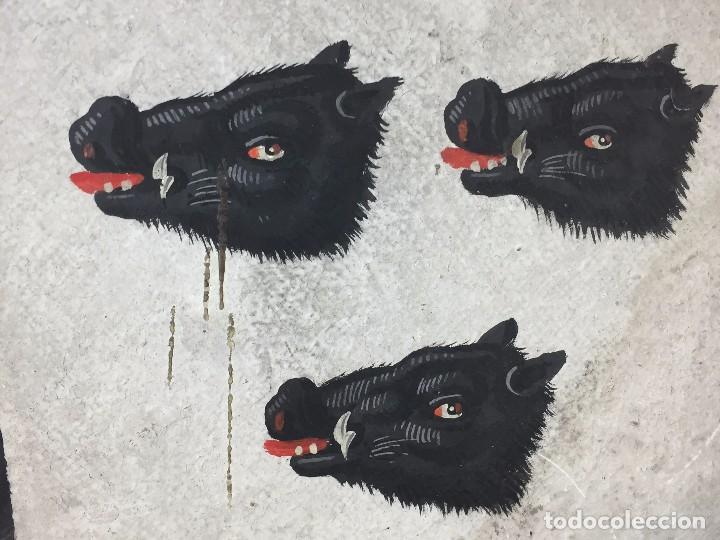 Antigüedades: blason francia 3 cabezas hures sanglier jabali heraldica de bonnay borgoña dos rombos pintados 1819 - Foto 7 - 85337364