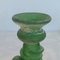 Antigüedades: ANTIGUO JARRÓN CRISTAL SOPLADO VERDE . Lote 85340268