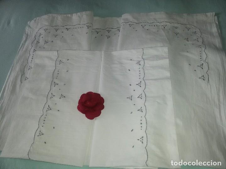 SÁBANA Y FUNDA- ALGODÓN-BORDADA A MANO-225X157 CM (Antigüedades - Hogar y Decoración - Sábanas Antiguas)