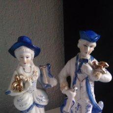 Antigüedades: PAREJA FIGURAS DE PORCELANA,PINTADA A MANO. Lote 85399252