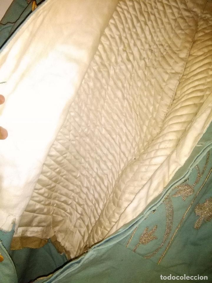 Antigüedades: GRAN VESTIDO MUSEO S XIX CELESTE PAÑETE BORDADO PLATA CONFECcion VIRGEN TEATRO CIRCO semana santa - Foto 30 - 85441768