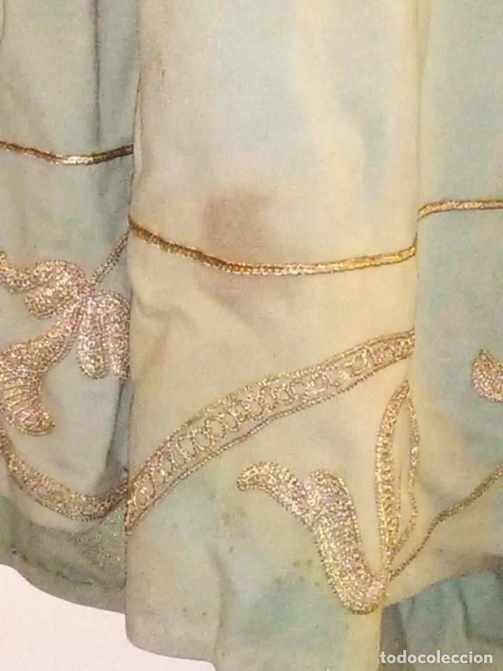 Antigüedades: GRAN VESTIDO MUSEO S XIX CELESTE PAÑETE BORDADO PLATA CONFECcion VIRGEN TEATRO CIRCO semana santa - Foto 80 - 85441768