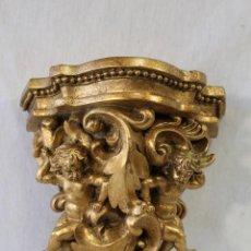 Antigüedades: MENSULA CON ANGELES EN RESINA DORADA. Lote 95721467