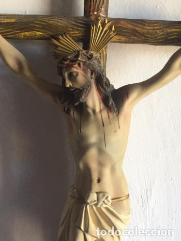 Antigüedades: CRUCIFIJO DE PASTA DE MADERA - Foto 2 - 85598908