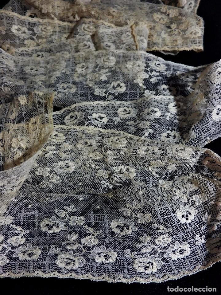 Antigüedades: 3562 Bello encaje bordado a mano encaje de Bruselas punto de aguja en seda s XIX 160 cm! - Foto 2 - 85604864