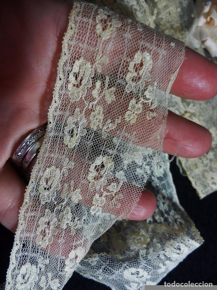 Antigüedades: 3562 Bello encaje bordado a mano encaje de Bruselas punto de aguja en seda s XIX 160 cm! - Foto 5 - 85604864