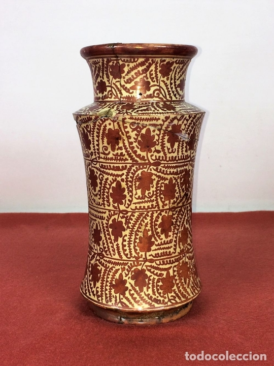 Antigüedades: ALBARELO. CERÁMICA DE REFLEJOS METÁLICOS. MANISES. ESPAÑA. XIX-XX - Foto 3 - 85621092