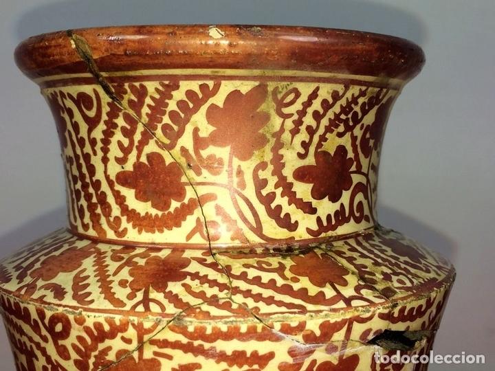 Antigüedades: ALBARELO. CERÁMICA DE REFLEJOS METÁLICOS. MANISES. ESPAÑA. XIX-XX - Foto 6 - 85621092