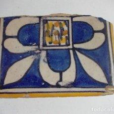 Antigüedades: ANTIGUO AZULEJO VALENCIANO XVII-XVIII CON UNAS MEDIDAS 8 X 11,5 X 1,7 CM. Lote 85643356