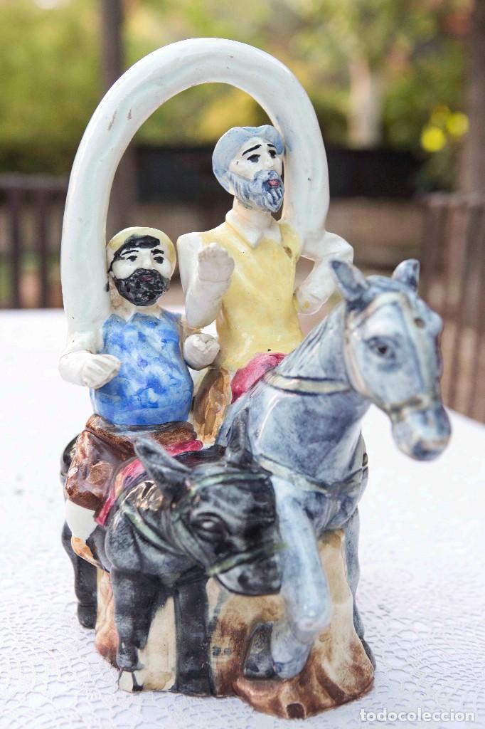 BOTIJO DEL QUIJOTE Y SANCHO PANZA. (Antigüedades - Porcelanas y Cerámicas - Otras)