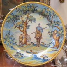 Antigüedades: ANTIGUO PLATO DE CERAMICA DE RUIZ DE LUNA. ESCENA QUIJOTE. TALAVERA. BUEN ESTADO. Lote 85668184