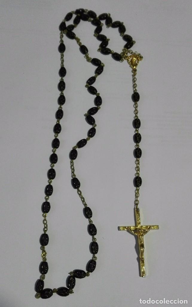 ROSARIO CON SEMILLA GRABADO CRUZ (Antigüedades - Religiosas - Rosarios Antiguos)