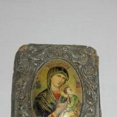 Antigüedades: ANTIGUA VIRGEN DEL PERPETUO SOCORRO EN CUERO REPUJADO. Lote 85675392