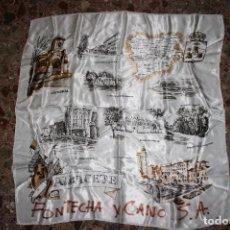 Antigüedades: ALBACETE.CURIOSO PAÑUELO DE RASO CON MONUMENTOS ÉPOCA DE FRANCO.FONTECHA Y CANO.90 X 90 CMS. Lote 85685148