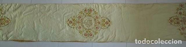 Antigüedades: Antiguo paño de hombros bordado en oro y sedas - Foto 4 - 85696144