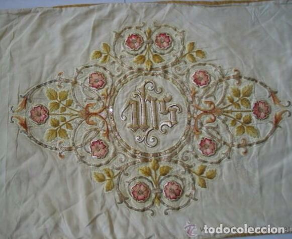 Antigüedades: Antiguo paño de hombros bordado en oro y sedas - Foto 7 - 85696144