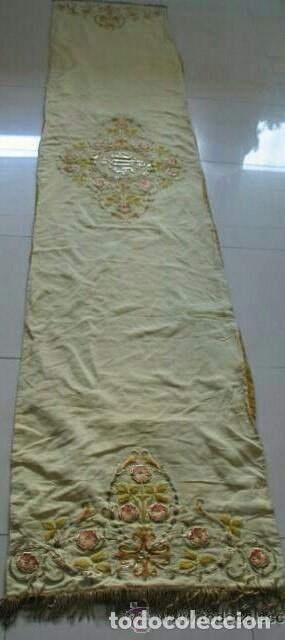Antigüedades: Antiguo paño de hombros bordado en oro y sedas - Foto 8 - 85696144