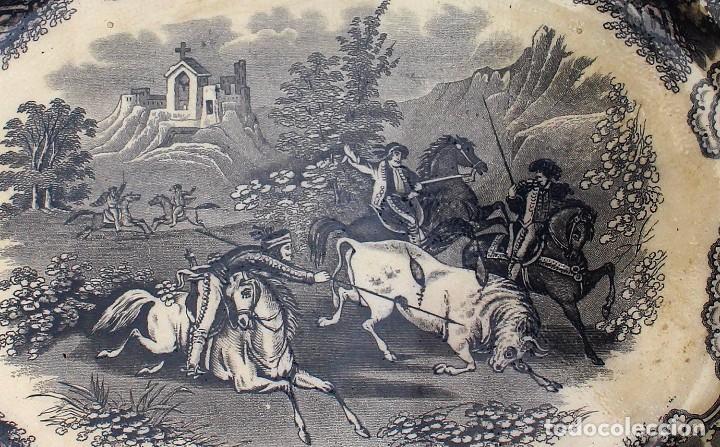 Antigüedades: Bandeja ovalada de La Fábrica de Cartagena La Amistad - siglo XIX - Escena de caza - Fuente servir - Foto 2 - 85712388