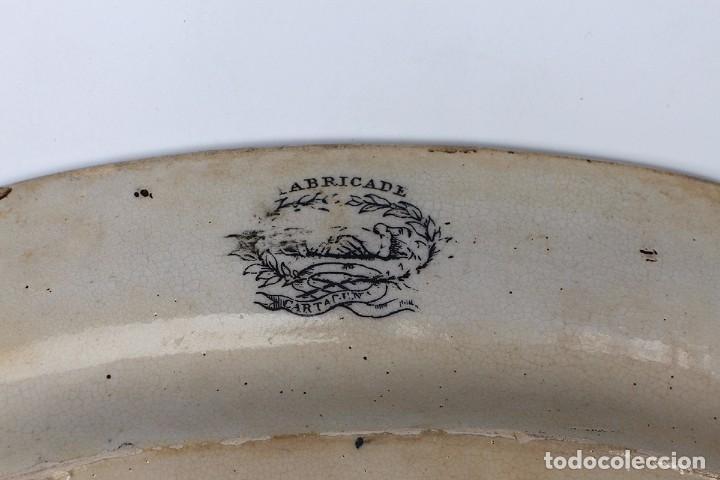 Antigüedades: Bandeja ovalada de La Fábrica de Cartagena La Amistad - siglo XIX - Escena de caza - Fuente servir - Foto 4 - 85712388