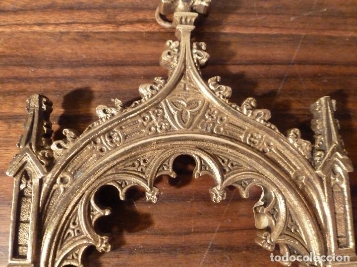 Antigüedades: MARCO DE BRONCE PARA SACRAS NEOGOTICO - Foto 5 - 85727960