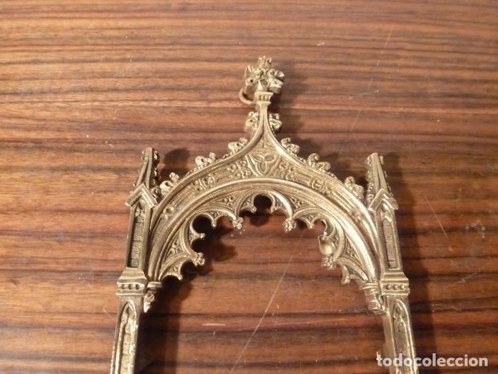 Antigüedades: MARCO DE BRONCE PARA SACRAS NEOGOTICO - Foto 6 - 85727960