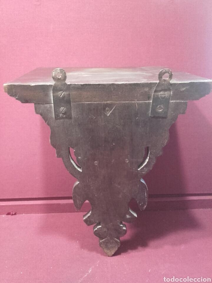 Antigüedades: ANTIGUA PEANA DE PARED. MADERA NOBLE TALLADA Y TORNEADA. SIGLO XIX. - Foto 6 - 85814034