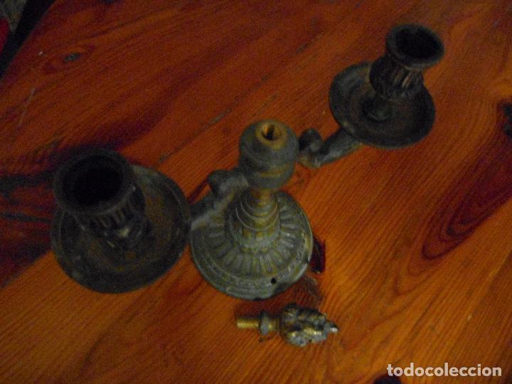 Antigüedades: Pareja candelabros aleación bronce. - Foto 3 - 29941602