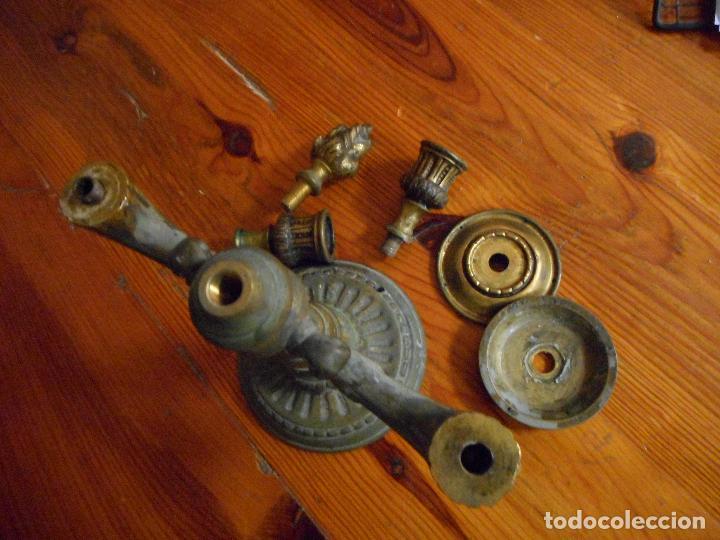 Antigüedades: Pareja candelabros aleación bronce. - Foto 5 - 29941602