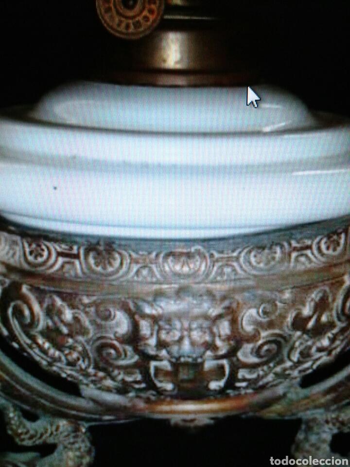 QUINQUEL OPALINA (Antigüedades - Iluminación - Quinqués Antiguos)