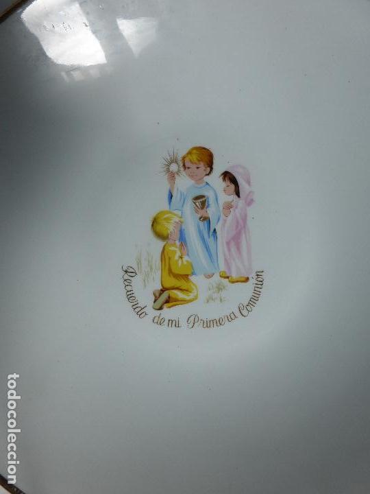 Antigüedades: ANTIGUO JUEGO VAJILLA INFANTIL DE 3 PLATOS PRIMERA COMUNIÓN MARCA SAN CLAUDIO AÑOS 50-60-BUEN ESTADO - Foto 8 - 85880676