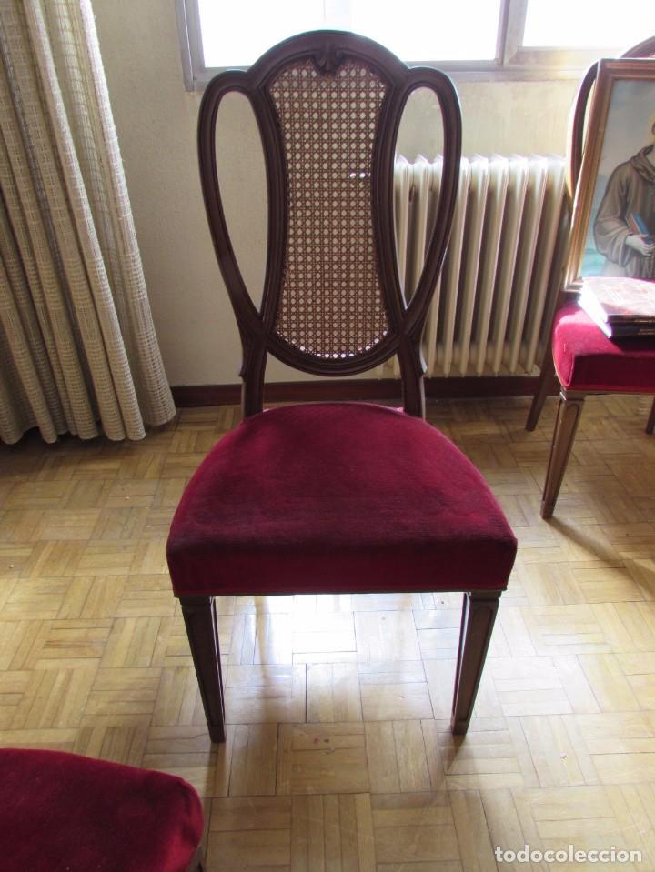6 sillas de madera estilo luis xv respaldo rej comprar - Tapizado de sillas antiguas ...