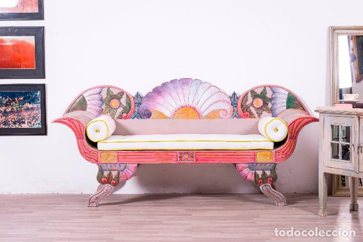banco balines de madera pintado a mano - Comprar Sofás Antiguos en ...
