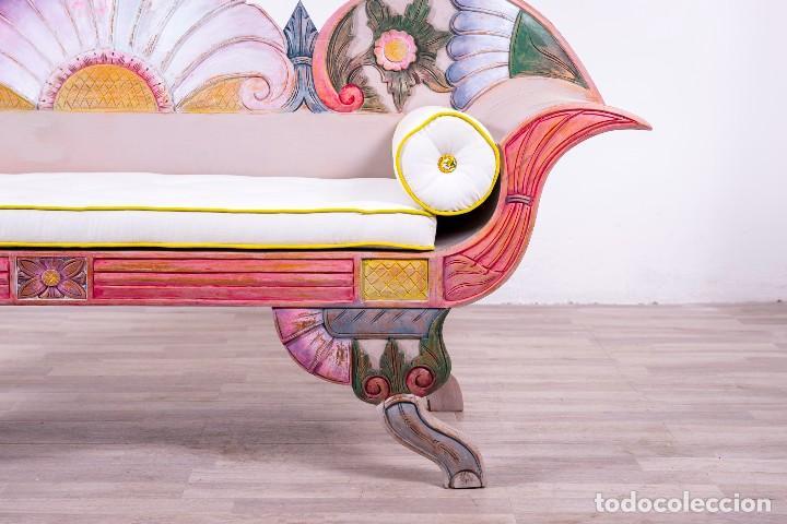 Antigüedades: Banco Balinés de madera pintado a mano - Foto 3 - 86000152