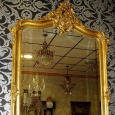 Antigüedades: ESPEJO ANTIGUO S.XIX. ISABELINO CON PAN DE ORO, ESTUCO Y MADERA. Lote 86043180