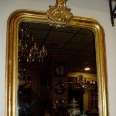 Antigüedades: ESPEJO ANTIGUO ISABELINO S. XIX CON PAN DE ORO.ESTUCO Y MADERA. Lote 86043588