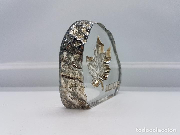 Antigüedades: Pisapapeles antiguo de cristal de bohemia y plata de ley hecho en Canadá por Tilley. - Foto 3 - 86084648