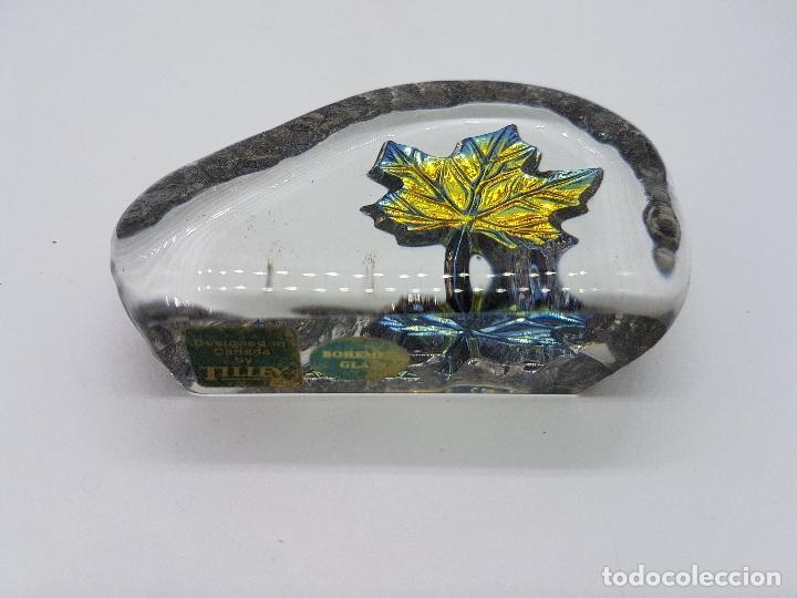 Antigüedades: Pisapapeles antiguo de cristal de bohemia y plata de ley hecho en Canadá por Tilley. - Foto 5 - 86084648