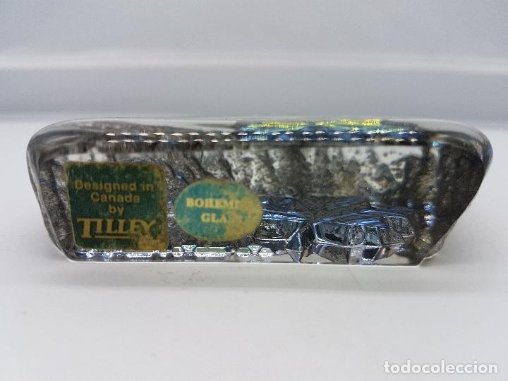 Antigüedades: Pisapapeles antiguo de cristal de bohemia y plata de ley hecho en Canadá por Tilley. - Foto 6 - 86084648