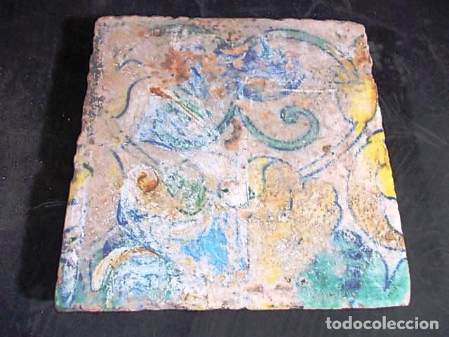 ANTIGUO AZULEJO VALENCIANO DEL XVII - XVIII (Antigüedades - Porcelanas y Cerámicas - Azulejos)