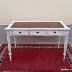 Antigüedades: ESCRITORIO ANTIGUO RETRO VINTAGE BLANCO DECAPE, MESA DE DESPACHO ANTIGUA MUEBLE. Lote 86108992