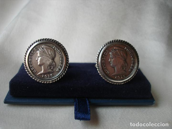 Antigüedades: GEMELOS DE PLATA MONEDAS REPUBLICA PORTUGUESA 1915 - Foto 6 - 86152080