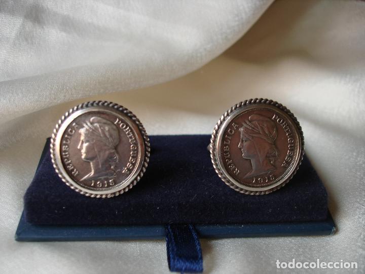 Antigüedades: GEMELOS DE PLATA MONEDAS REPUBLICA PORTUGUESA 1915 - Foto 7 - 86152080
