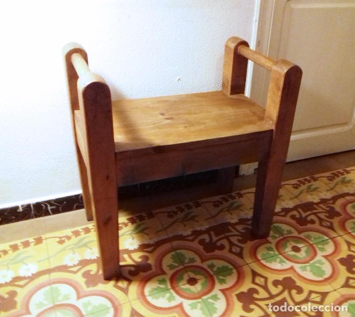 banco banqueta de madera maciza. rústico - Comprar Sillones Antiguos ...