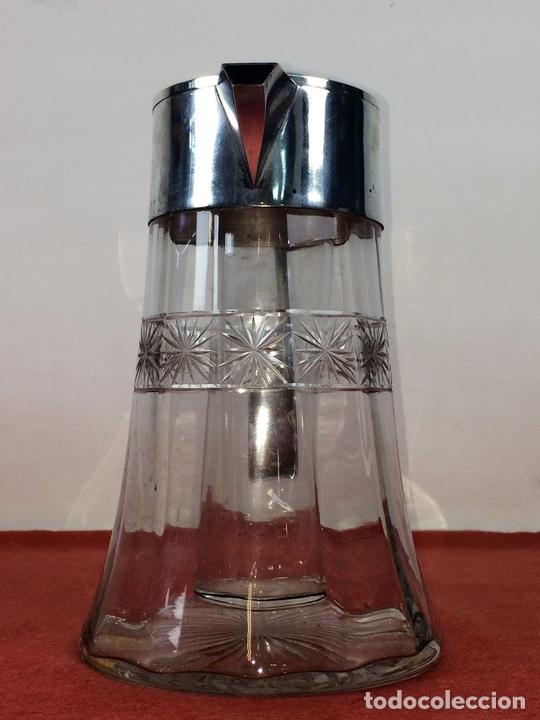 Antigüedades: JARRA-ENFRIADOR PARA BEBIDAS. METAL CHAPADO PLATA. CRISTAL. ESPAÑA. CIRCA 1920 - Foto 3 - 86267604