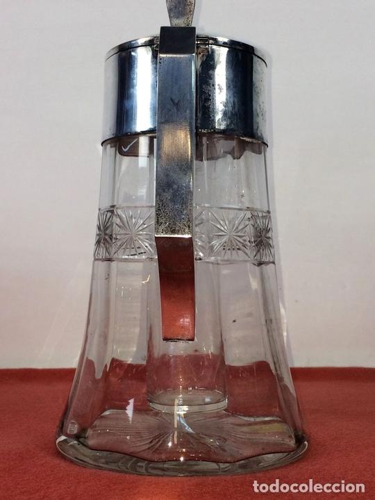 Antigüedades: JARRA-ENFRIADOR PARA BEBIDAS. METAL CHAPADO PLATA. CRISTAL. ESPAÑA. CIRCA 1920 - Foto 4 - 86267604