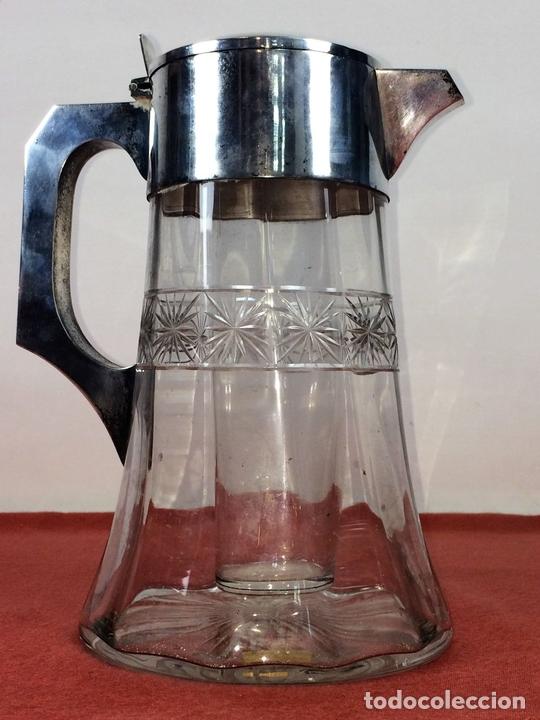 Antigüedades: JARRA-ENFRIADOR PARA BEBIDAS. METAL CHAPADO PLATA. CRISTAL. ESPAÑA. CIRCA 1920 - Foto 5 - 86267604
